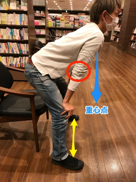 椅子に座る前の姿勢